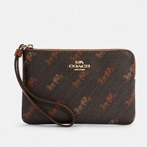 Coach Corner Zip Wristlet With Horse And Carriage Dot Print